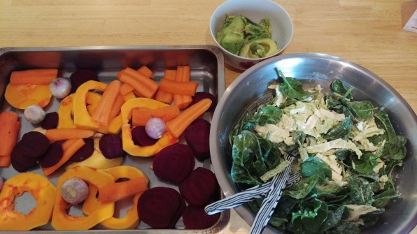Salad prepped and waiting for roated beets, carrot and squash