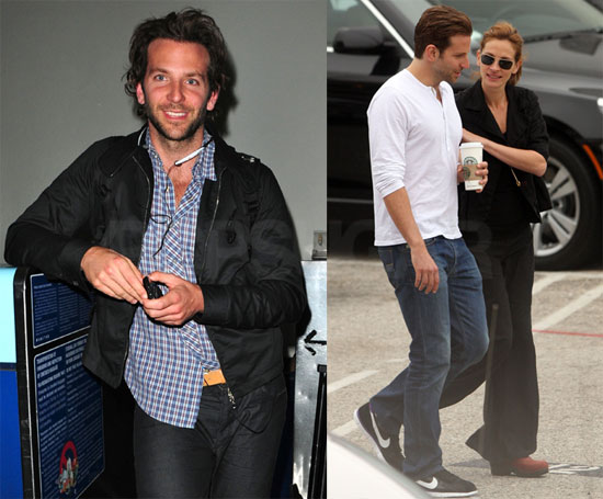 Bradley Cooper pre-haircut and shave and post-cut.