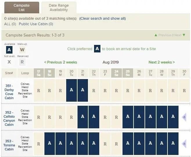 Reserve America Cabin Date Range Availability