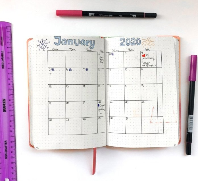 January 2020 bullet journal monthly layout