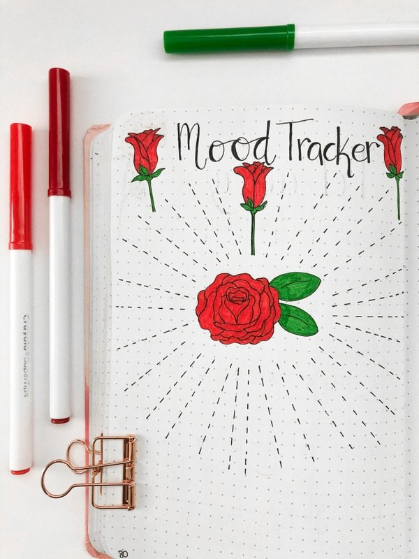 Bullet journal mood tracker with red roses