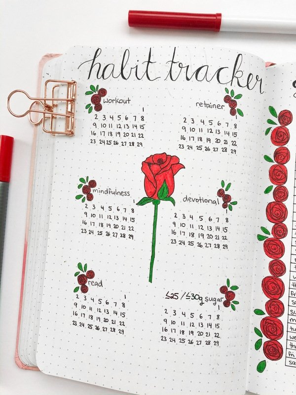 Bullet journal habit tracker: red roses theme