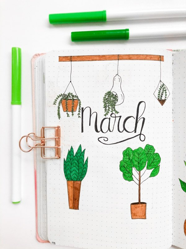 March Bullet Journal Cover Page with a houseplant theme