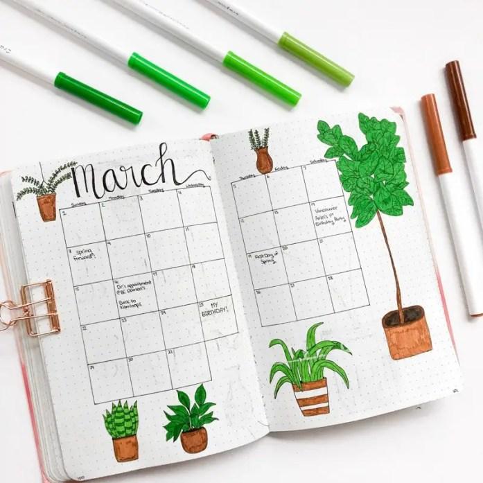 March bullet journal setup