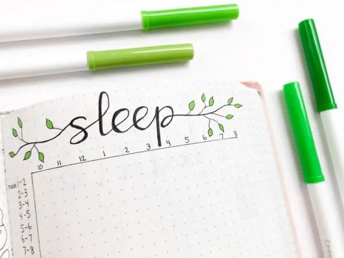 March bullet journal sleep tracker