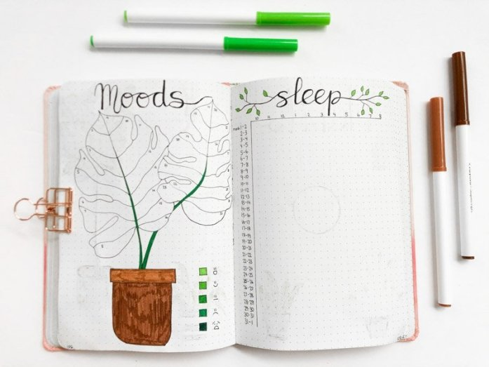 March bullet journal mood and sleep trackers