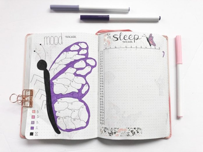 Bullet journal mood tracker and sleep tracker