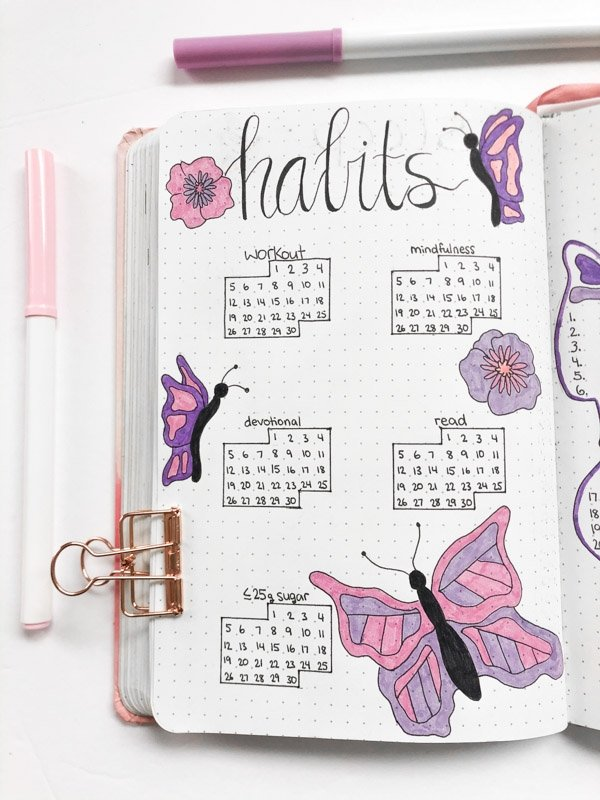 Bullet journal monthly habit tracker