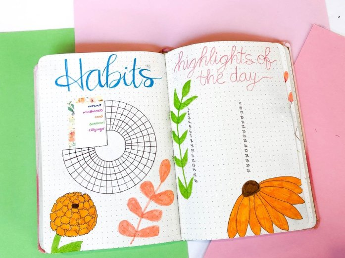 Bullet journal habit tracker and highlights of the day page