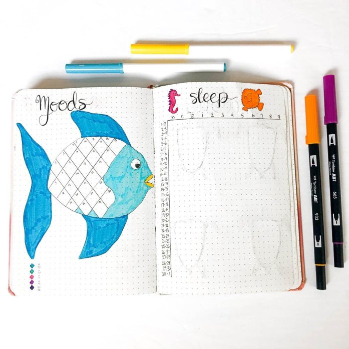 Bullet journal mood tracker and sleep tracker with an under the sea theme