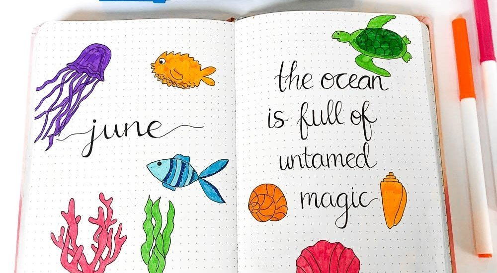 June Bullet Journal Layout Cover Page and Quote Page