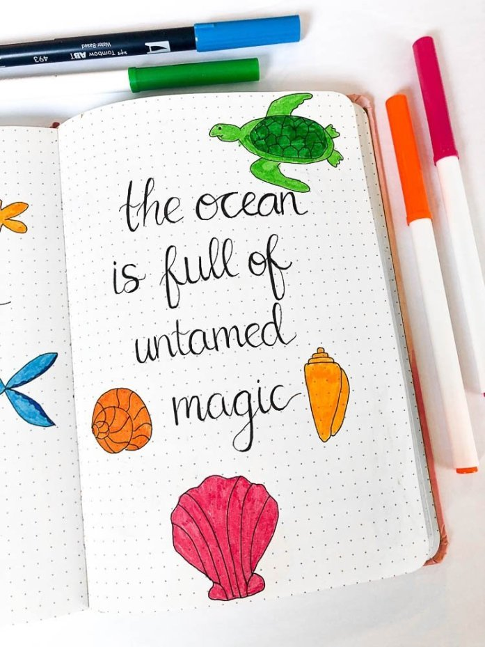 Bullet journal quote page with an ocean theme