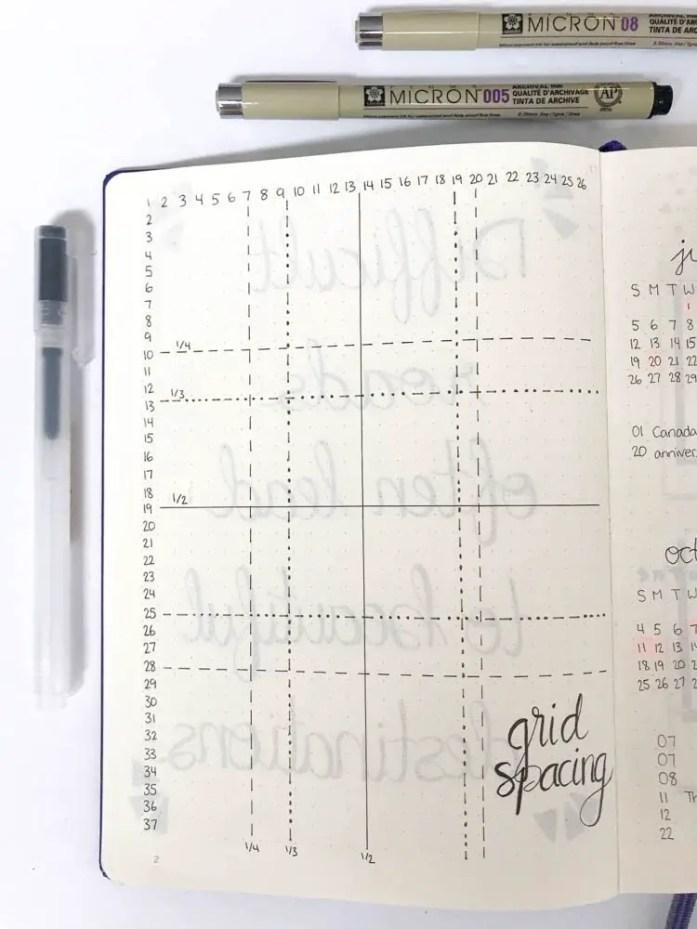bullet journal grid spacing guide