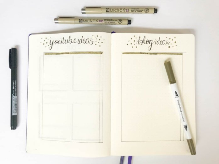 bullet journal ideas page