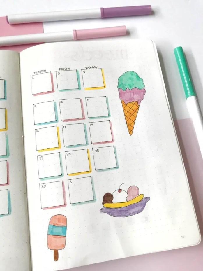 Bullet Journal July Calendar Ice Cream Theme
