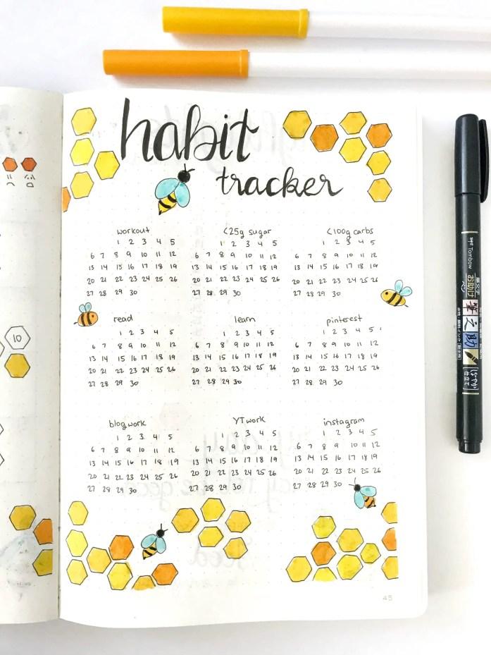 Bullet journal monthly habit tracker