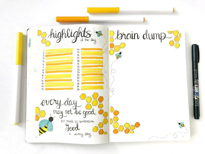 bullet journal monthly highlights of the day page and brain dump page
