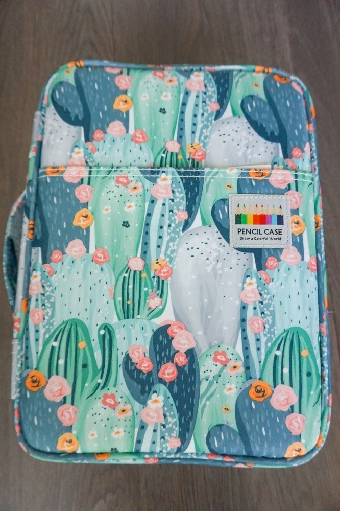 pencil case with a pastel cactus pattern