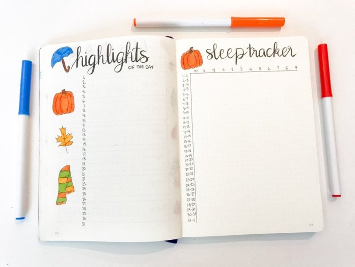 bullet journal highlights of the day and sleep tracker pages
