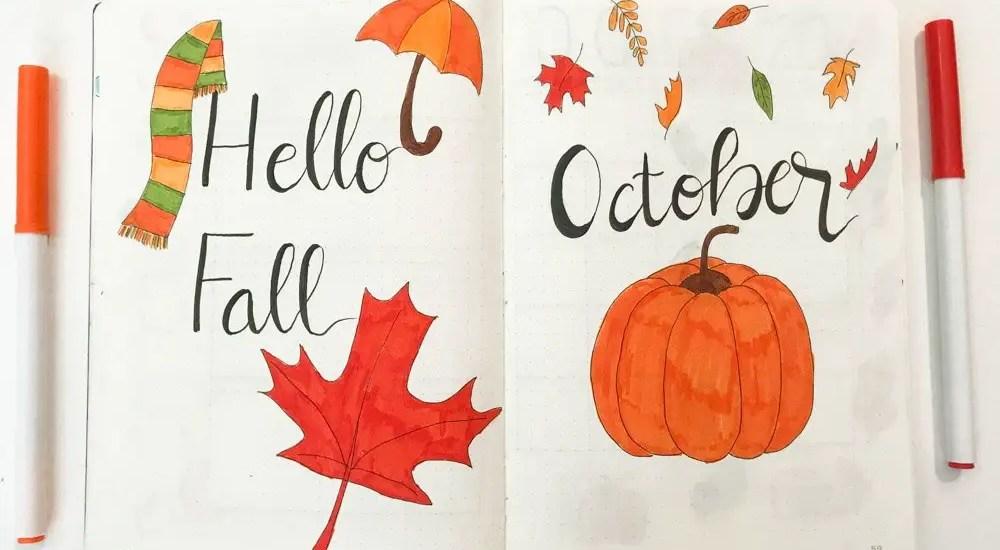 October bullet journal spread
