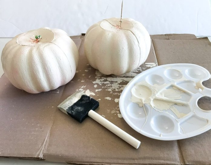 white painted styrofoam dollar tree pumpkins