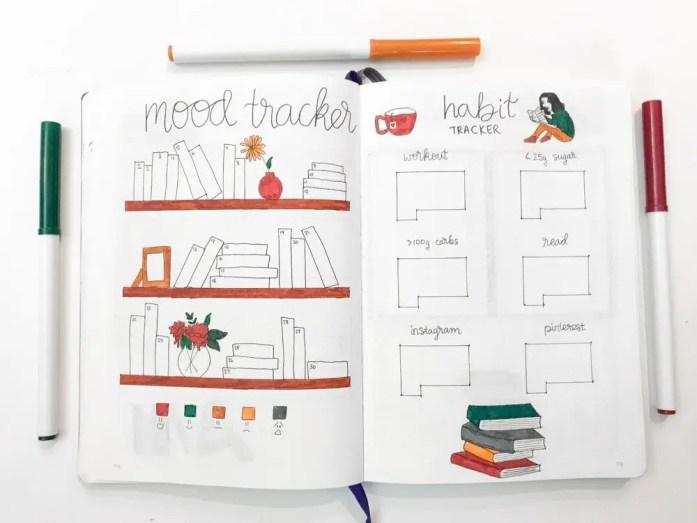 november bullet journal mood tracker and habit tracker