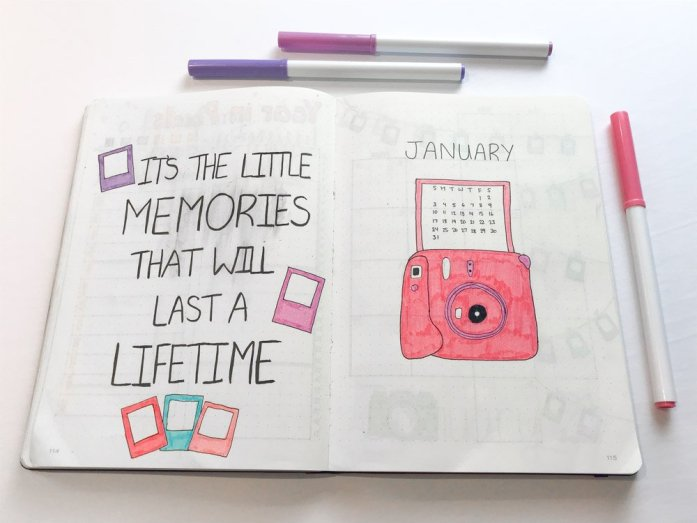 january bullet journal cover page