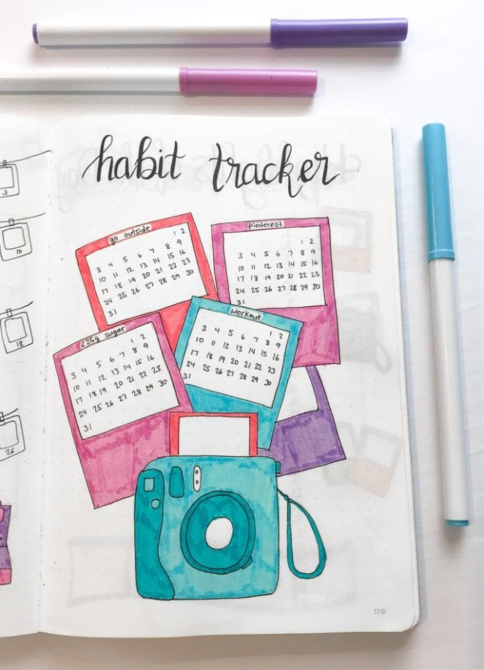 bullet journal habit tracker polaroid theme