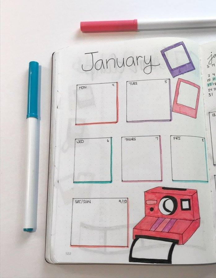 january bullet journal weekly spread