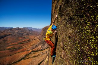 Carlo dancing on the 7c pitch