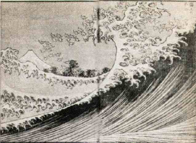 """Fuji seen from the sea,"" colored woodblock print by Hokusai, from ""One Hundred Views of Mt. Fuji,"" Vol. 2 (1834)"