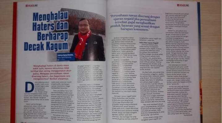 Pakar IM Andreas Agung Narasumber di Majalah MARKETING