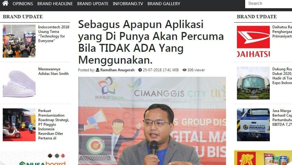 Andreas Agung Narasumber Majalah Infobrand