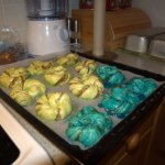 They look pretty nasty before baked, green and blue.