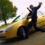 Me and my car, the picture I posted on Facebook :) My foot is fine, btw.
