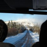 Another bus picture, approaching the slopes!