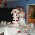 As the grooms cut the cake you can clearly see the specks of dust in the air which reflect the flash. Not very nice.