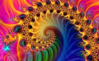 BUNTE FRAKTAL--SCHNECKE dehnt sich im weiten UNIVERSUM aus...bishin zur großen MATRIX wo ALLes geSPEICHER(t)ist