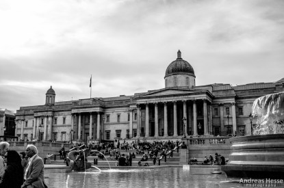 Trafalgar Square, viewing onto the National Gallery