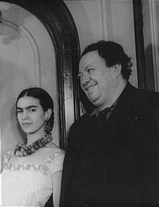 Frida Kahlo and Diego Rivera. Photograph by Carl Van Vechten at Wikimedia Commons