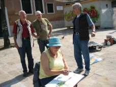 Uwe, ich, Dieter und Inge in Venedig beim Malen und Diskutieren