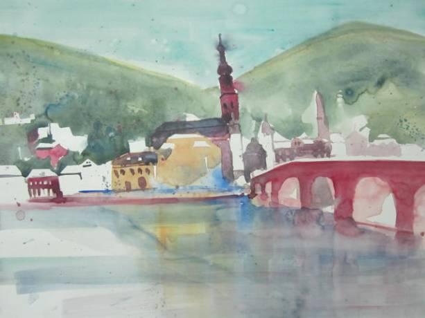 Entstehung Aquarell Heidelberg von Andreas Mattern