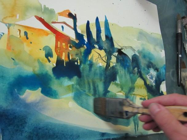 Entstehung Aquarell Toskana - Aquarell von Andreas Mattern