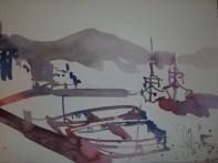 Boote auf Mallorca - Aquarell von Andreas Mattern - 30 x 40 cm