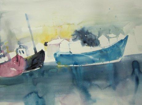 Entstehung Boote Aquarell von Andreas Mattern Teil 1