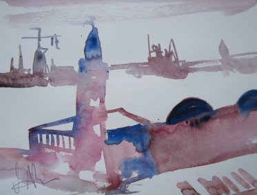 Hamburg - Aquarell von Andreas Mattern - 30 x 40 cm