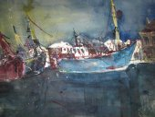 Boote - Aquarell von Andreas Mattern - 56 x 76 cm