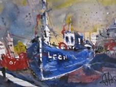 Blaues und rotes Boot - Aquarell von Andreas Mattern - 30 x 40 cm