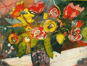 2005 Blumenstrauss - Radierung von Andreas Mattern - 3 Platten - 15 x 20 cm