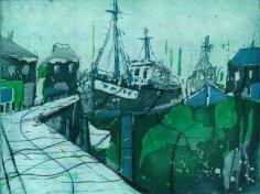 Boote grün - blau - Radierung von Andreas Mattern - 3 Platten - Aquatinta